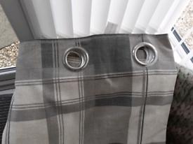 Grey check curtains