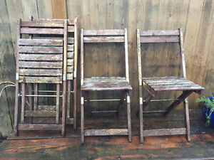 4 Collapsible Patio Chairs - Wooden, Distressed, Vintage Look, Q