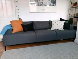 Large 3 seater MADE. com dark grey sofa