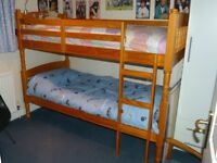 3ft Albany Pine Spindle Bunk Bed, including mattresses