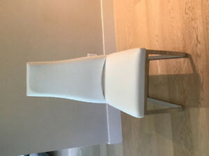 White genuine leather Calligaris dining chairs