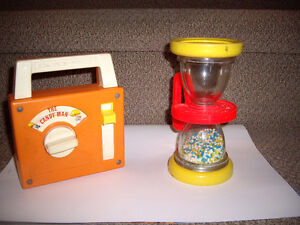 FISHER PRICE VINTAGE RADIO and HOUR GLASS