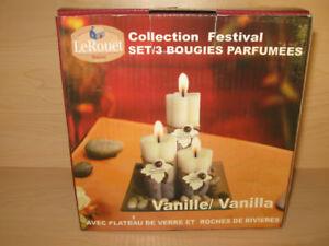 Set NEUF 3 bougies, Diffuseur de parfum huiles essentielles, etc