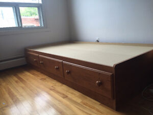 Single Bed Real Wood with Drawers for sale