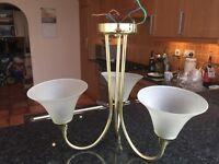 Brass and brushed glass light fitting