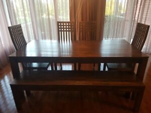 Used Solid Teak Modern 6 to 8 people dining table SET