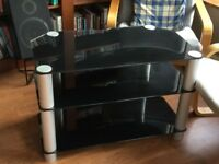 Black glass and chrome Tv stand unit