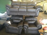 Pure brown leather three piece suite 3 seater sofa and 2 armchairs Littlewoods Portland model new