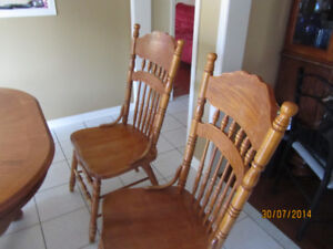 SOLID WOODEN DINING TABLE WITH SIX CHAIRS AND EXTENSION FOR SALE