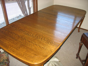 Tiger Oak antique dining table and chairs Strathcona County Edmonton Area image 2