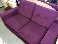 Purple fabric sofa's and cuddler seat