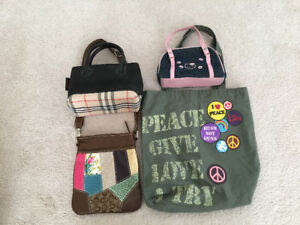 Girl purse lot, Burberry coach like; Hello kitty Disney