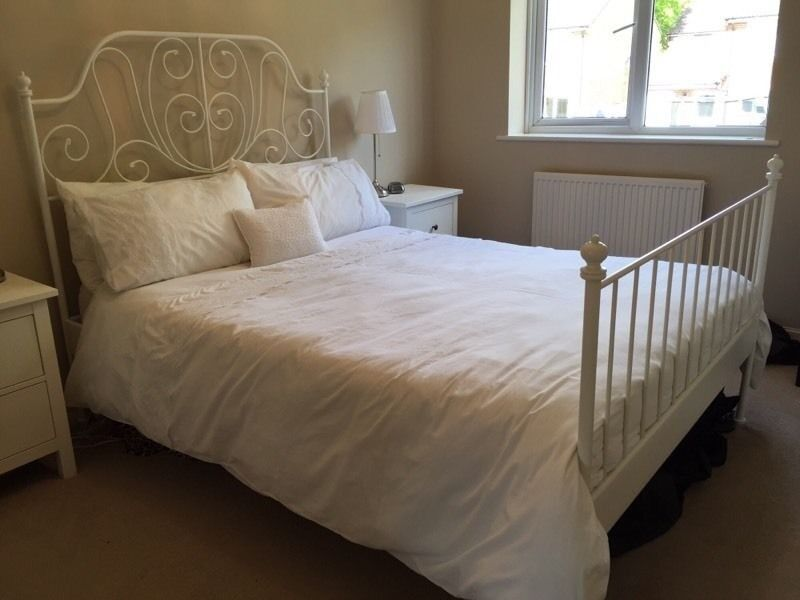 Ikea White Metal Bed Frame With Double Mattress In