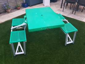 Fold up picnic / camping table with 4 seats, delivery available