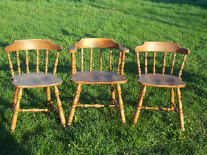3 Vintage Wooden Pub Bar Style Chairs