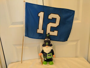 """Seattle Seahawks Ugly Sweater Gnome with """"The 12th Man"""" Flag"""