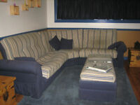Blue & Beige L Shape Couch - Makes Double Bed & Single Bed