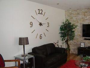48'' gris naturel, horloge murale géante, chiffre bois de grange