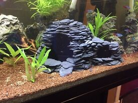 Aquarium/fish tank natural custom slate cave