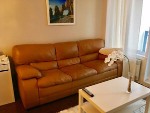 Genuine Leather Tan 3-Seater Couch for Sale