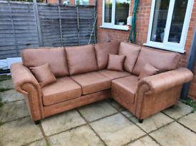 Oakland right hand faux leather corner sofa