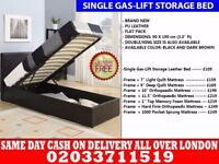 BRAND NEW SINGLE LEATHER STORAGE BED Available with Mattress Tyler