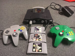 N64 console, 2 controllers, 4 games