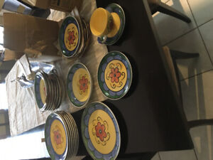 Dinnerware set - 37 pieces.  Hand painted.  $40