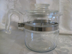 1960's Pyrex 9 Cup Glass Coffee Pot with Perculator