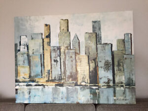 Cityscape painting on canvas