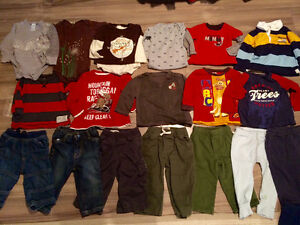 Boys 12 months brand name clothing lot, tops & bottoms