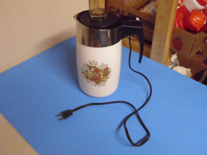 CORNING WARE ELECTRIC COFFEE PERCOLATER SPICE OF LIFE 10 CUP