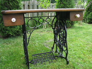 """Table with Antique """"New Williams"""" Cast Iron Base"""