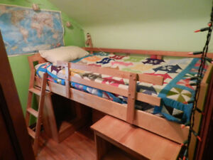 Loft Bed with desk, cubbie ,dresser and removable side rails