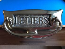 Beautiful antique brass letterbox with knocker