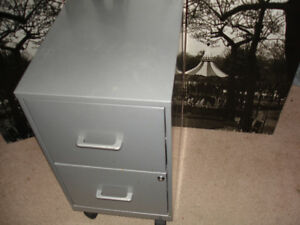 Quality Two drawer filing cabinet has wheels and lock