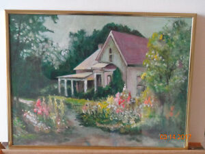 House with beautiful garden original painting