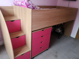 Mico mid sleeper bed oak/pink with drawers