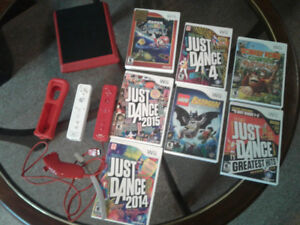 Mini red Wii with games
