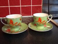 Tea 2 teacup and saucer pair