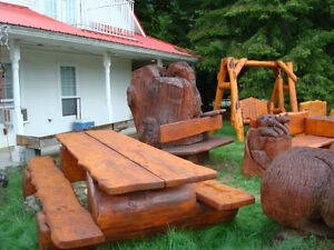 log picnick table 9 foot long with burlwood table and seats
