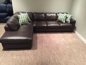 Sectional couch -  Natuzzi 100% leather sectional