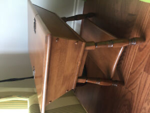 Solid wood side/coffee table with hutch