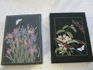 2 Black Lacquer Covered Address books from Japan- NEW in box