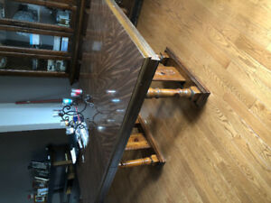 Table and side cabnit for sale! Beautiful wood looks brand new!