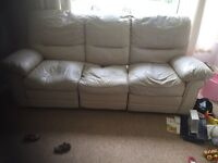 Cream Leather 3 and 2 seater sofa with 4 recliners - FREE!