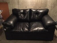 Bonded Black leather couch & love seat