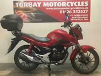 HONDA CB125F 2017 67 REG IN RED WITH 11795 MILES FITTED WITH A TOPBOX