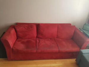 """CURB ALERT! Red Suede Sofa 80"""" x 32"""" (Free !! Pickup only!)"""
