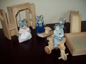 Tabby Sylvanian Family of Four and Wooden Playground